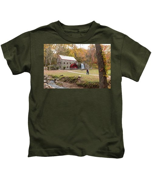 Selfie In Autumn Kids T-Shirt