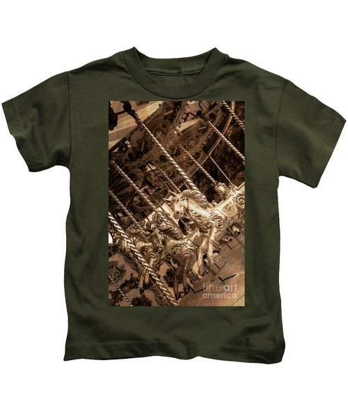 Sepia Carousel Horse Kids T-Shirt