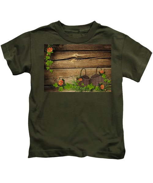 Shabby Chic Flowers In Rustic Basket Kids T-Shirt
