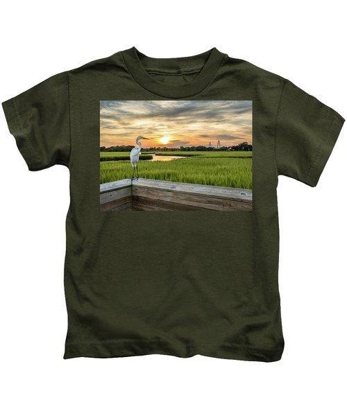 Shem Creek Pier Sunset Kids T-Shirt