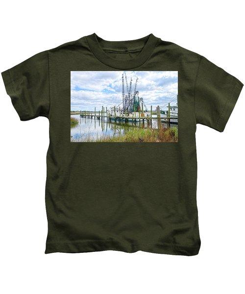 Shrimp Boats Of St. Helena Island Kids T-Shirt