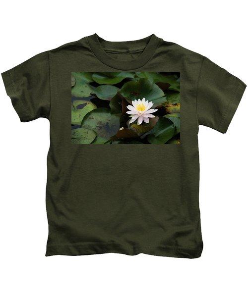 Single White Pristine Lotus Lily Kids T-Shirt