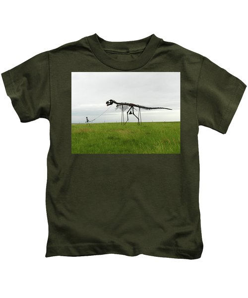 Skeletal Man Walking His Dinosaur Statue Kids T-Shirt