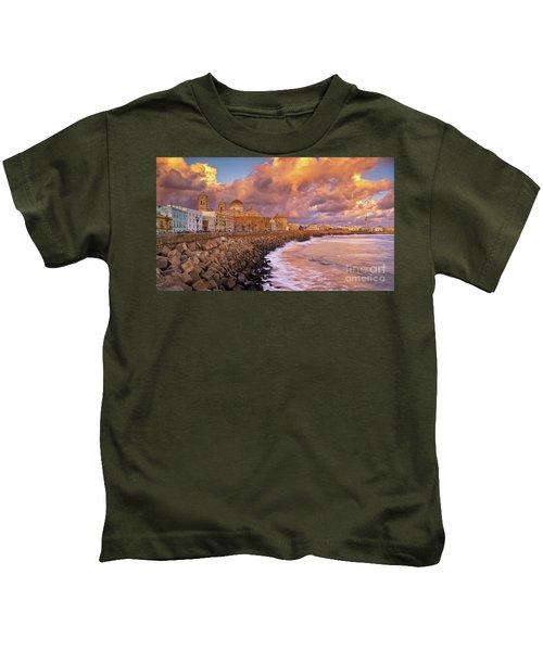Skyline From Campo Del Sur Cadiz Spain Kids T-Shirt