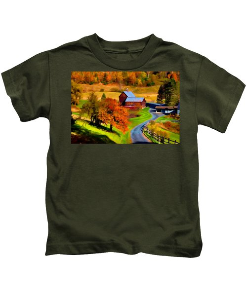 Digital Painting Of Sleepy Hollow Farm Kids T-Shirt