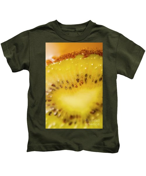 Sliced Kiwi Fruit Floating In Carbonated Beverage Kids T-Shirt by Jorgo Photography - Wall Art Gallery