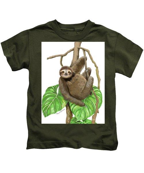Hanging Three Toe Sloth  Kids T-Shirt