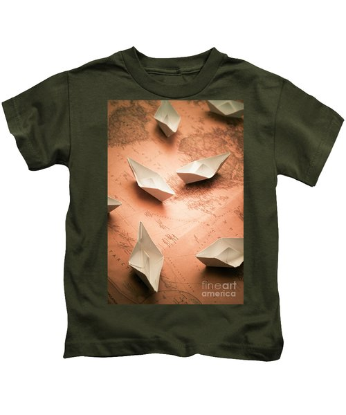 Small Paper Boats On Top Of Old Map Kids T-Shirt
