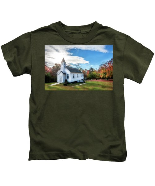 Small Wooden Church In The Countryside During Autumn Kids T-Shirt