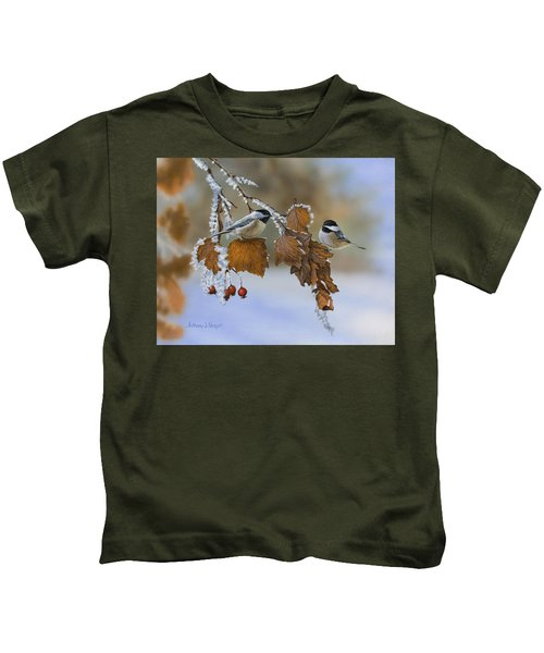 Snow Chickadees Kids T-Shirt