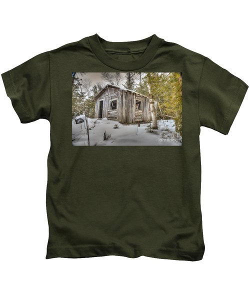 Snow Covered Abandon Cabin Kids T-Shirt