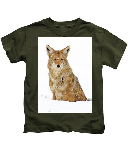 Snowy Coyote Kids T-Shirt