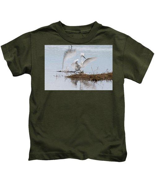 Snowy Egret Chasing His Dinner Kids T-Shirt