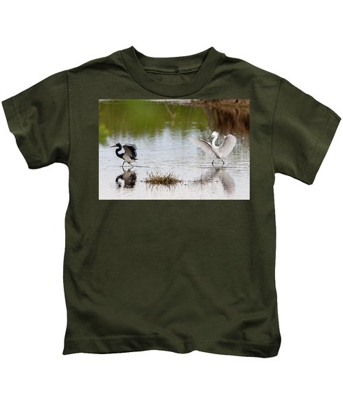 Snowy Egret Chasing Other Bird Out Of Feeding Area Kids T-Shirt