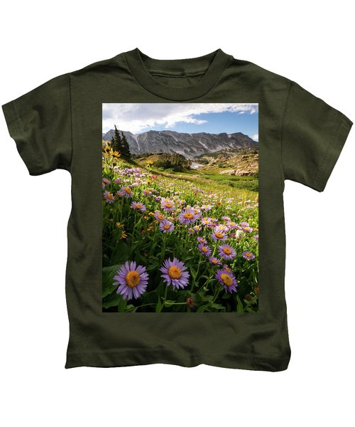 Snowy Range Flowers Kids T-Shirt