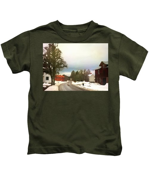Snowy Street With Red House Kids T-Shirt
