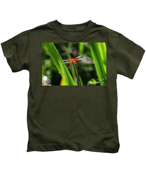 Sparkling Red Dragonfly Kids T-Shirt