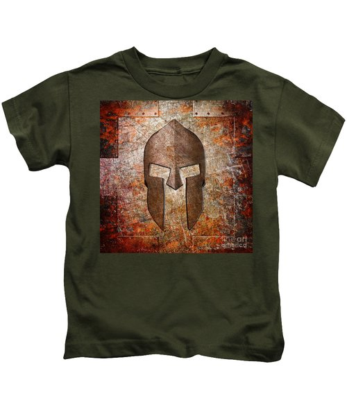 Spartan Helmet On Rusted Riveted Metal Sheet Kids T-Shirt