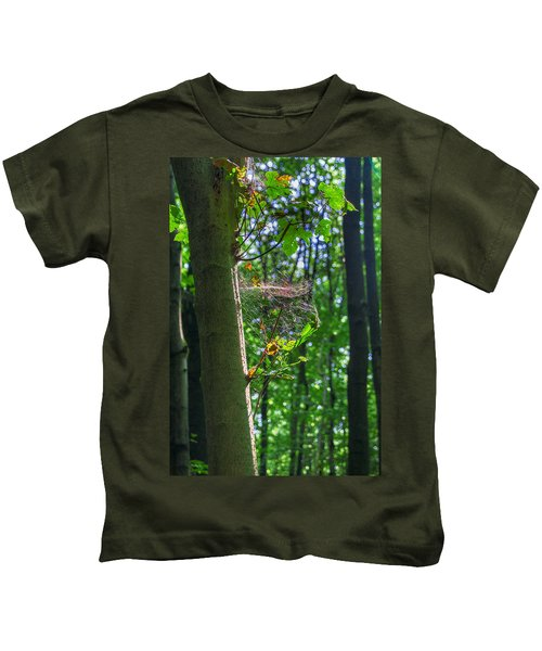 Spider Web In A Forest Kids T-Shirt