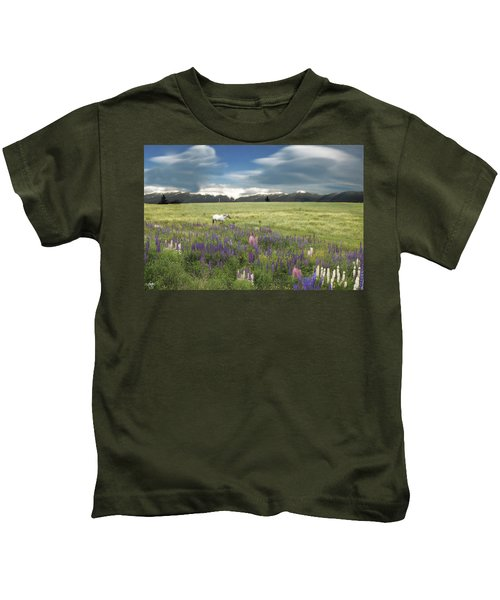 Spirit Pony In High Country Lupine Field Kids T-Shirt