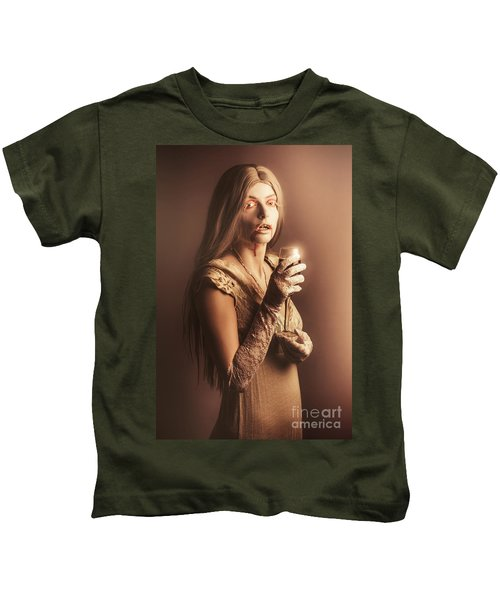 Spooky Vampire Girl Drinking A Glass Of Red Wine Kids T-Shirt by Jorgo Photography - Wall Art Gallery