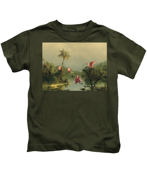 Spoonbills In The Mist Kids T-Shirt by Spadecaller