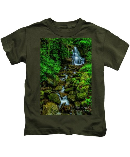 Spring Green Waterfall And Rhododendron Kids T-Shirt