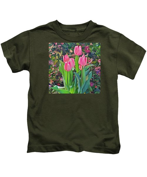 Spring Show 14 Pink Tulips  Kids T-Shirt