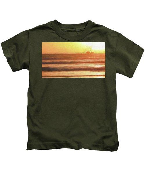 Squid Boat Sunset Kids T-Shirt