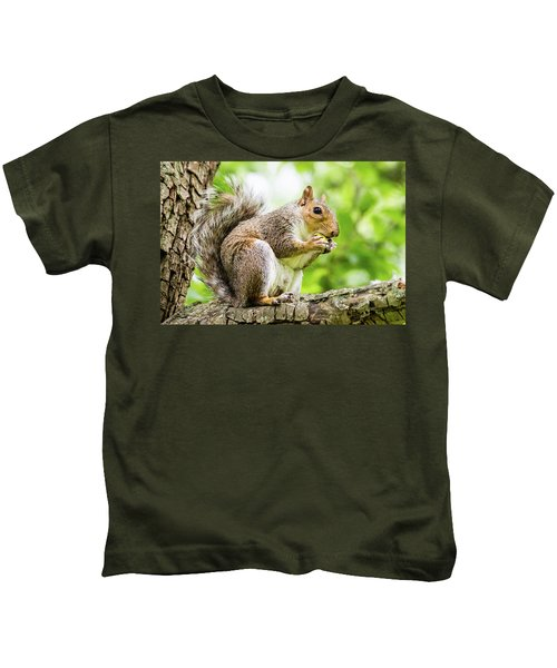 Squirrel Eating On A Branch Kids T-Shirt