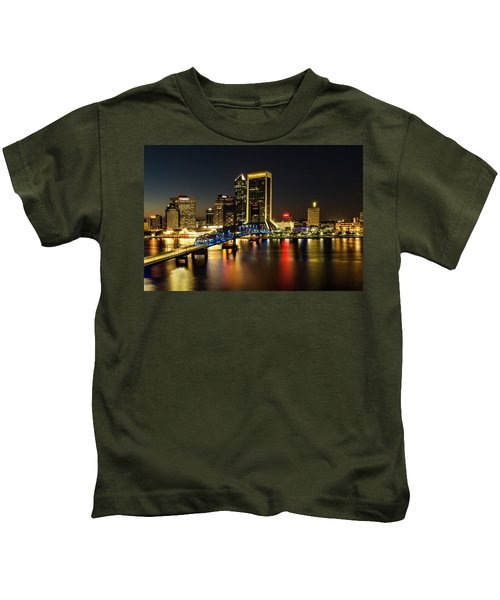 St Johns River Skyline By Night, Jacksonville, Florida Kids T-Shirt