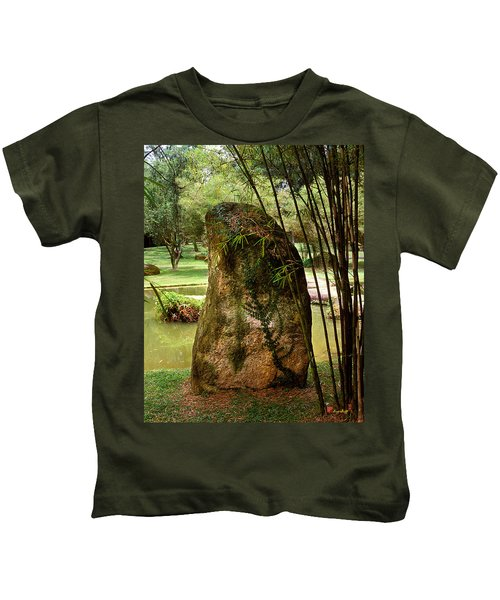Standing Stone With Fern And Bamboo 19a Kids T-Shirt