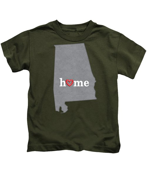 State Map Outline Alabama With Heart In Home Kids T-Shirt