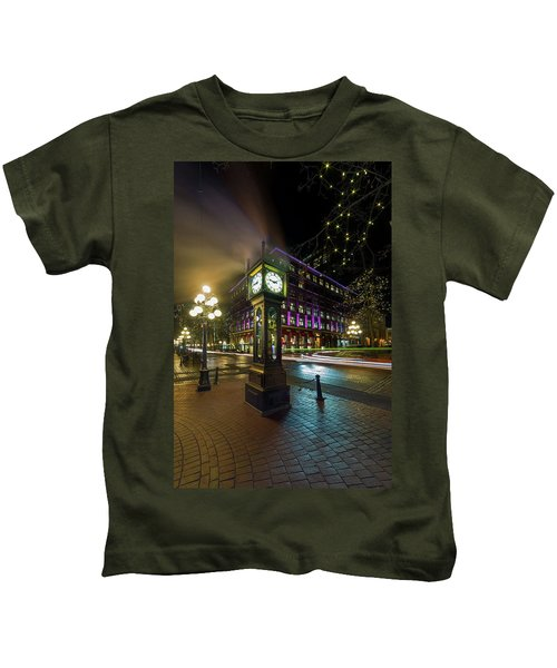 Steam Clock In Gastown Vancouver Bc At Night Kids T-Shirt