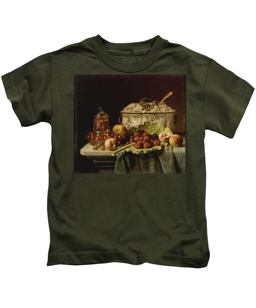 Still Life  Fruit And Dishes  Late 19th Century Oil On Panel Gottfried Schultz  German  1842  1919 Kids T-Shirt
