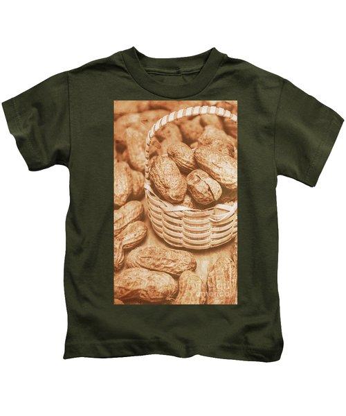 Still Life Peanuts In Small Wicker Basket On Table Kids T-Shirt