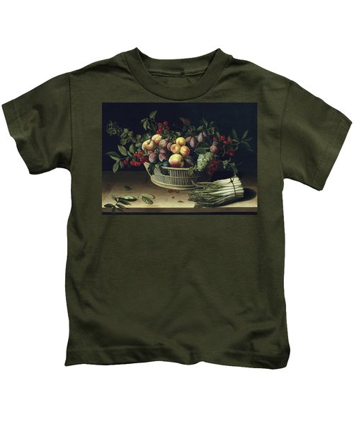 Still Life With A Basket Of Fruit And A Bunch Of Asparagus Kids T-Shirt