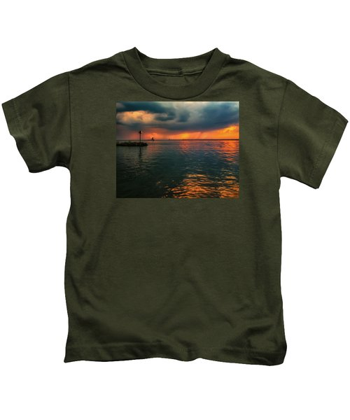 Storm In Lorain Ohio At The Lighthouse Kids T-Shirt