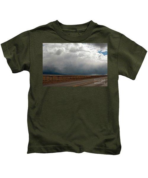 Storm On Route 287 N Of Ennis Mt Kids T-Shirt