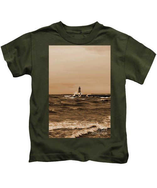 Storm Sandy Effects Menominee Lighthouse Sepia Kids T-Shirt