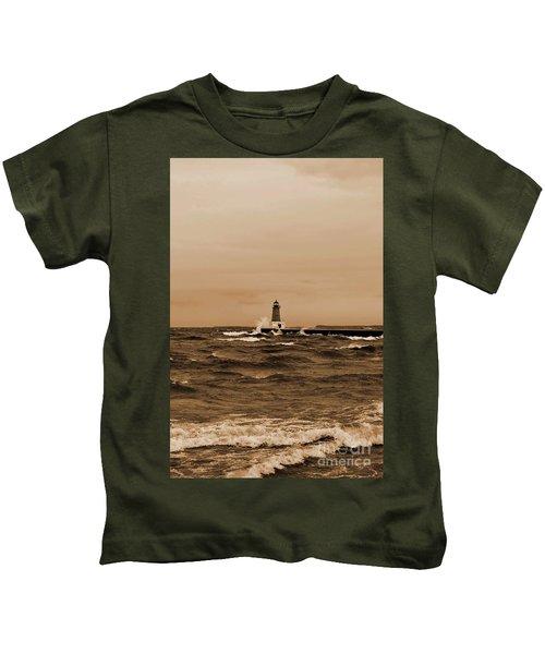 Storm Sandy Effects Menominee Lighthouse Sepia Kids T-Shirt