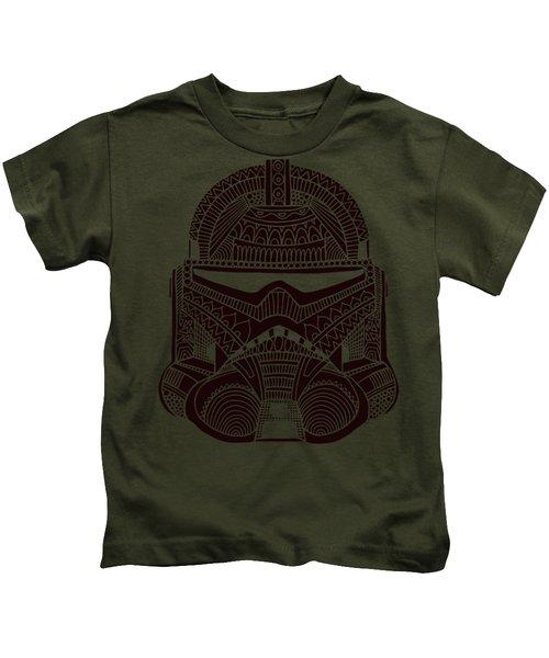 Stormtrooper Helmet - Star Wars Art - Brown  Kids T-Shirt