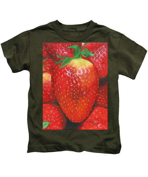 Kids T-Shirt featuring the painting Strawberries by Nancy Nale