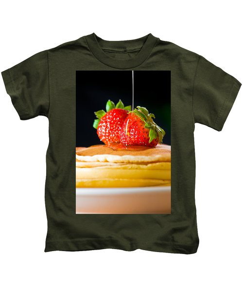 Strawberry Butter Pancake With Honey Maple Sirup Flowing Down Kids T-Shirt