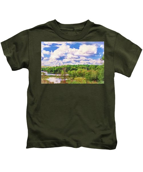 Striking Clouds Above Small Water Inlet And Green Trees Kids T-Shirt