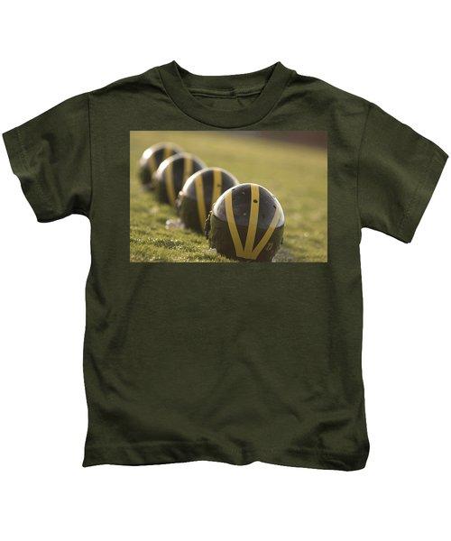 Striped Helmets On Yard Line Kids T-Shirt