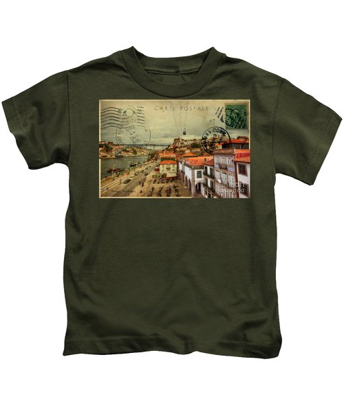 stylish retro postcard of Porto Kids T-Shirt