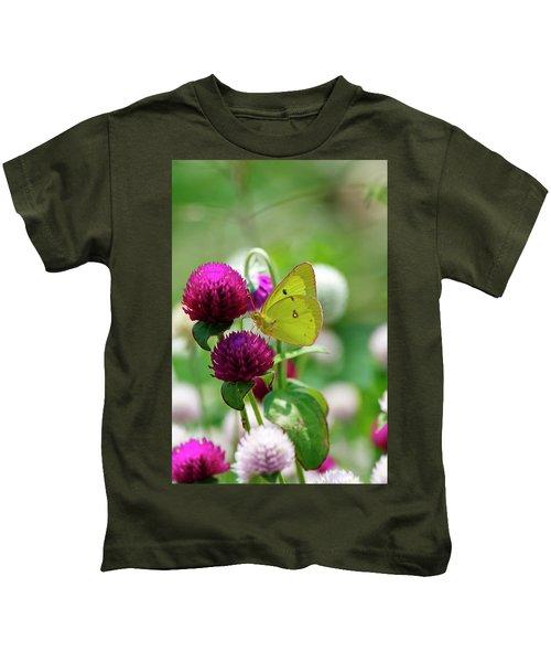 Sulfur Butterfly On Globe Amaranth Kids T-Shirt
