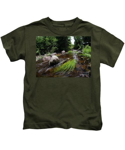Summer Flow Of Water Near Rangeley Maine  -63322 Kids T-Shirt