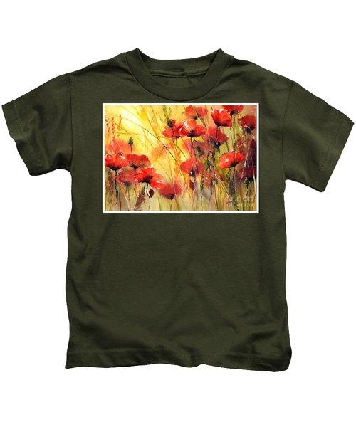 Sun Kissed Poppies Kids T-Shirt